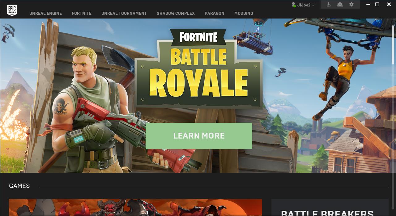 Epic Games Seite